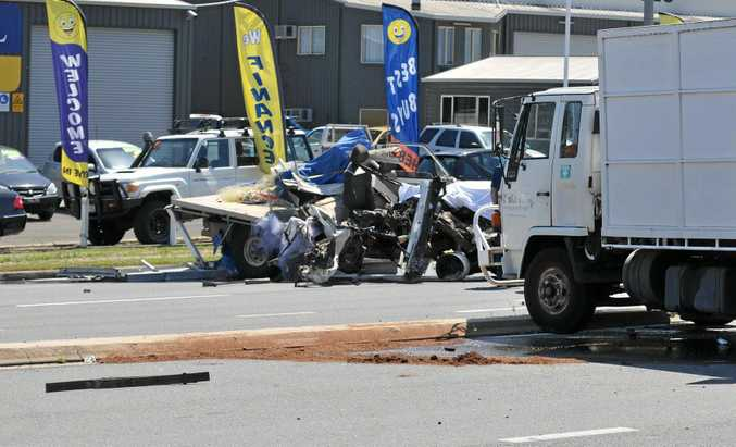 FATAL CRASH: The scene of a tragic accident in Gympie Saturday afternoon where a Cooran man, 40, lost his life.