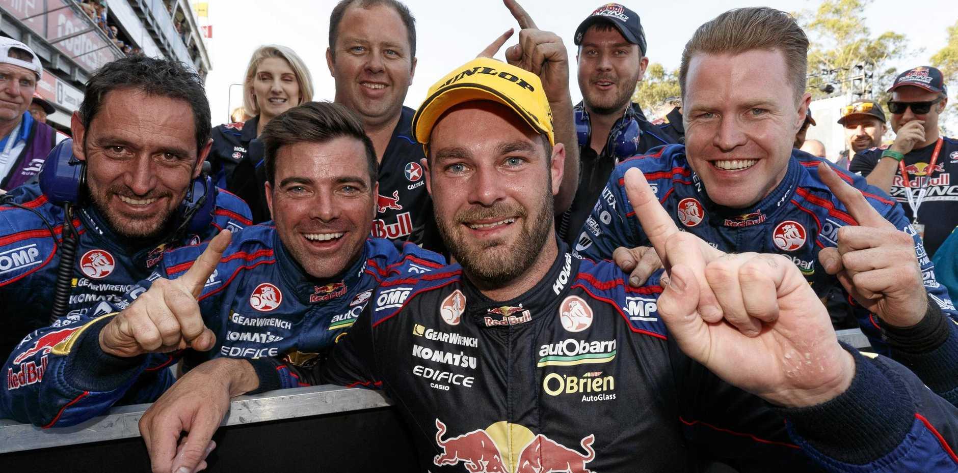 Shane Van Gisbergen celebrates his title win at the  Sydney 500