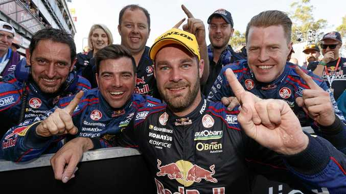 Shane Van Gisbergen celebrates his title win at the  Sydney 500