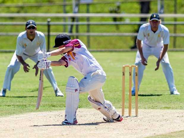 ON THE FRONT FOOT: Chris Whitworth gets forward for Tewantin/Noosa.