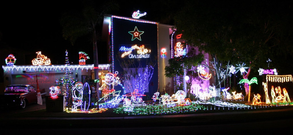 Mike Keys spends the whole month of November preparing his Noosaville Christmas lights display.