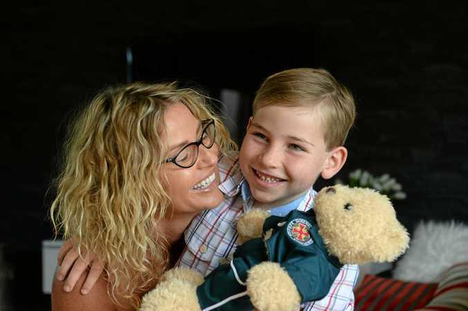 BRAVE: Five-year-old Hutch Bevacqua talked to paramedics and saved his mum Natasha's life.