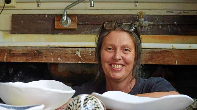 Artist Penny Evans in her Lismore studio, towards the end of a busy year that has pushed her career into a new era of online achievement.