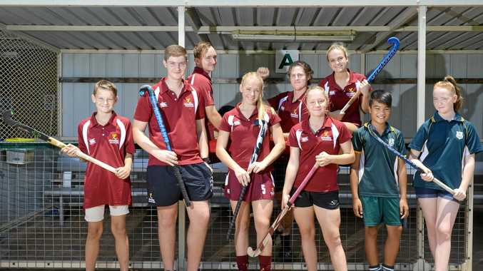 Ipswich players Riley Profke, Matthew West, Ryan Smith, Eden Jackat, Cade Banditt, Talicia Canty, Hannah Casey, Daimon Bell and Victoria Heffernan are ready to represent Queensland at the national indoor hockey champinships in Wollongong next month.