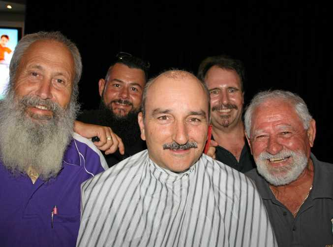HAIR TODAY: Barry Johnson, left, Jason Sizeland, of The Barbers Shed, Detective Jason Overland, Mark Guy and Joe Borg before the shave as part of Movember at Caloundra RSL to raise awareness of men's health issues.