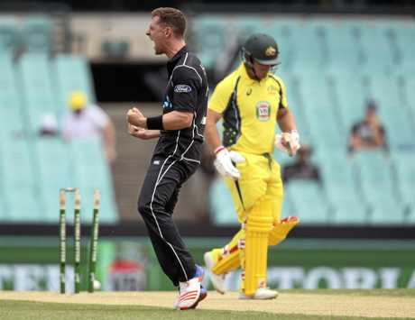 New Zealand's Matt Henry, left, celebrates bowling out Australia's Aaron Finch