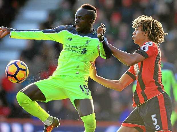 Liverpool's Sadio Mane, left, and AFC Bournemouth's Nathan Ake were both on target.