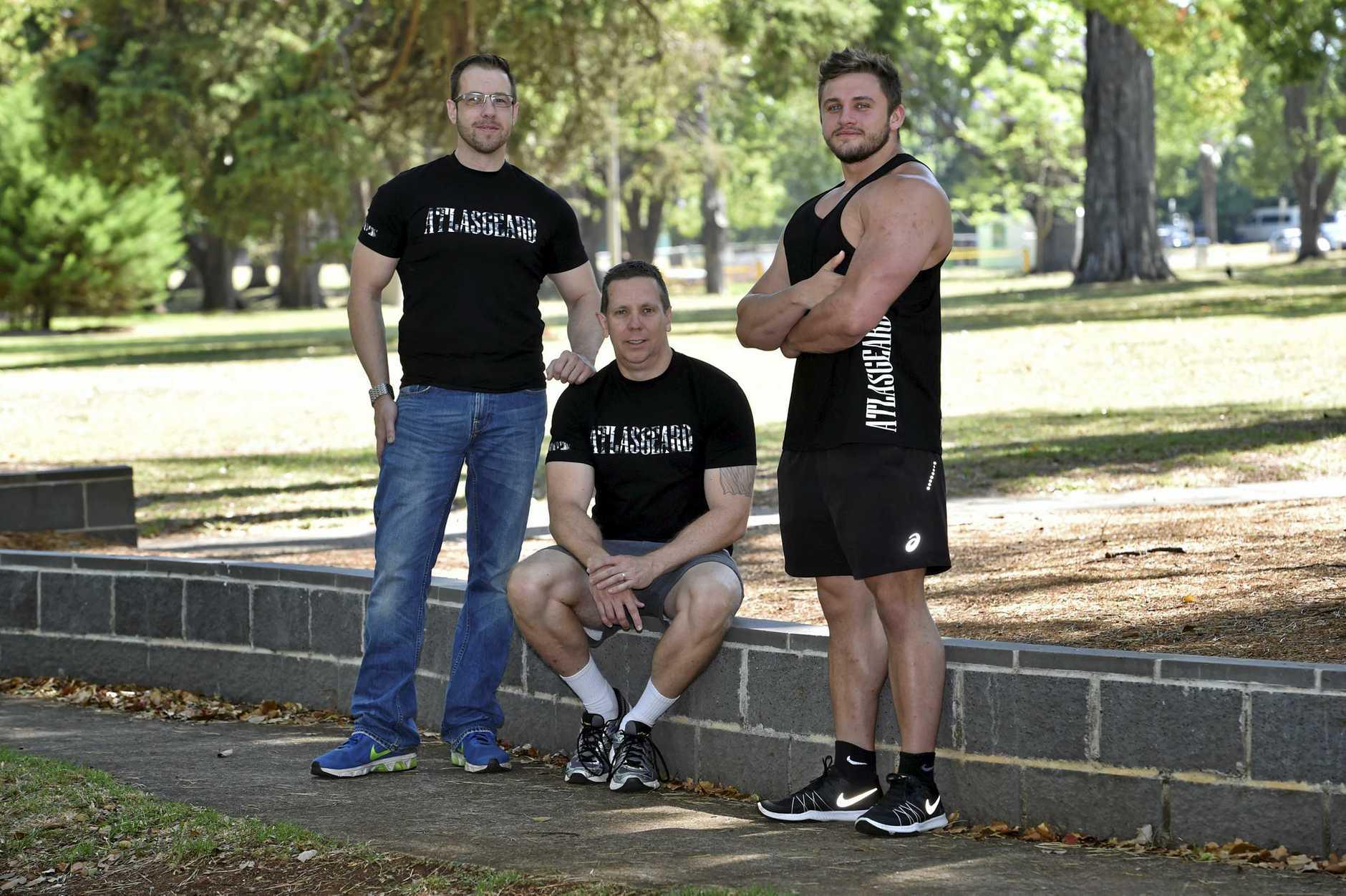 New fashion leisure wear range designed in Toowoomba, Atlasgeard is owner Barry Janetzki (left) and models, Michael Vels and Jordan McIntrye. December 2016.