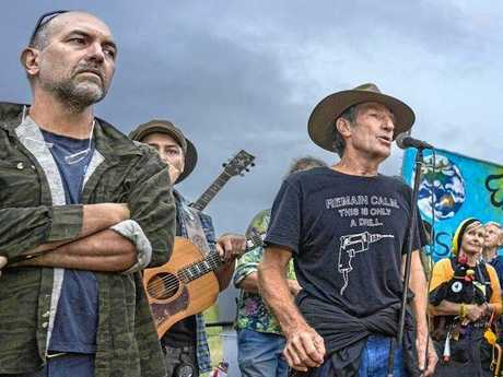 Iluka resident and character in the film, Ian Gaillard, addresses the crowd of anti-CSG protesters at Bentley.