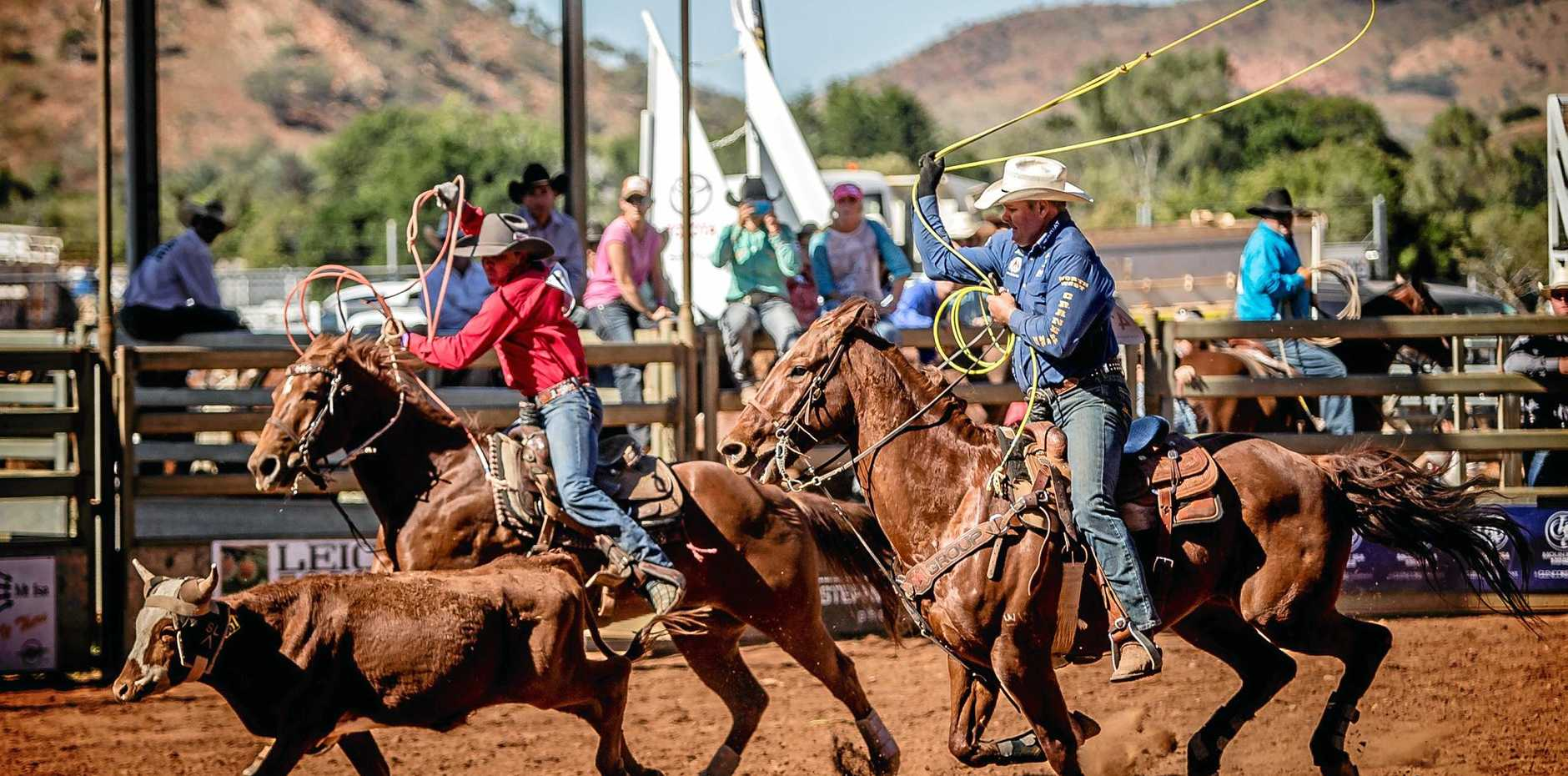 HARD TO BEAT: Emerald's Shane Kenny and central Queensland rider Cameron Milner in the team roping.