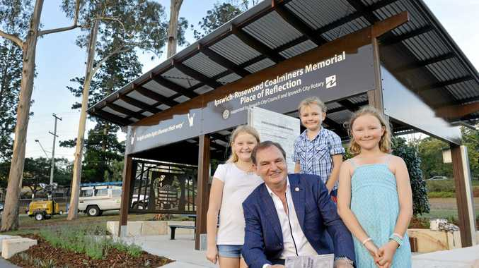 Mayor Paul Pisasale with Larissa Ashbrook, 8, Jasper Gwyn, 6 and Haillie Gwyn, 10, at the Ipswich-Rosewood Coalminers Memorial Place of Reflection in Limestone Park.