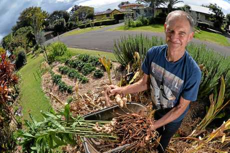 How a little street in Buderim is showing the world how to grow food and create a great place to live. Ducan McNaught with his produce.