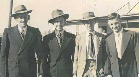 ALL SMILES: Norm Diplock, Ted King, Stan Farrell and Nev Callaghan get ready to go to the Rockhampton Show.