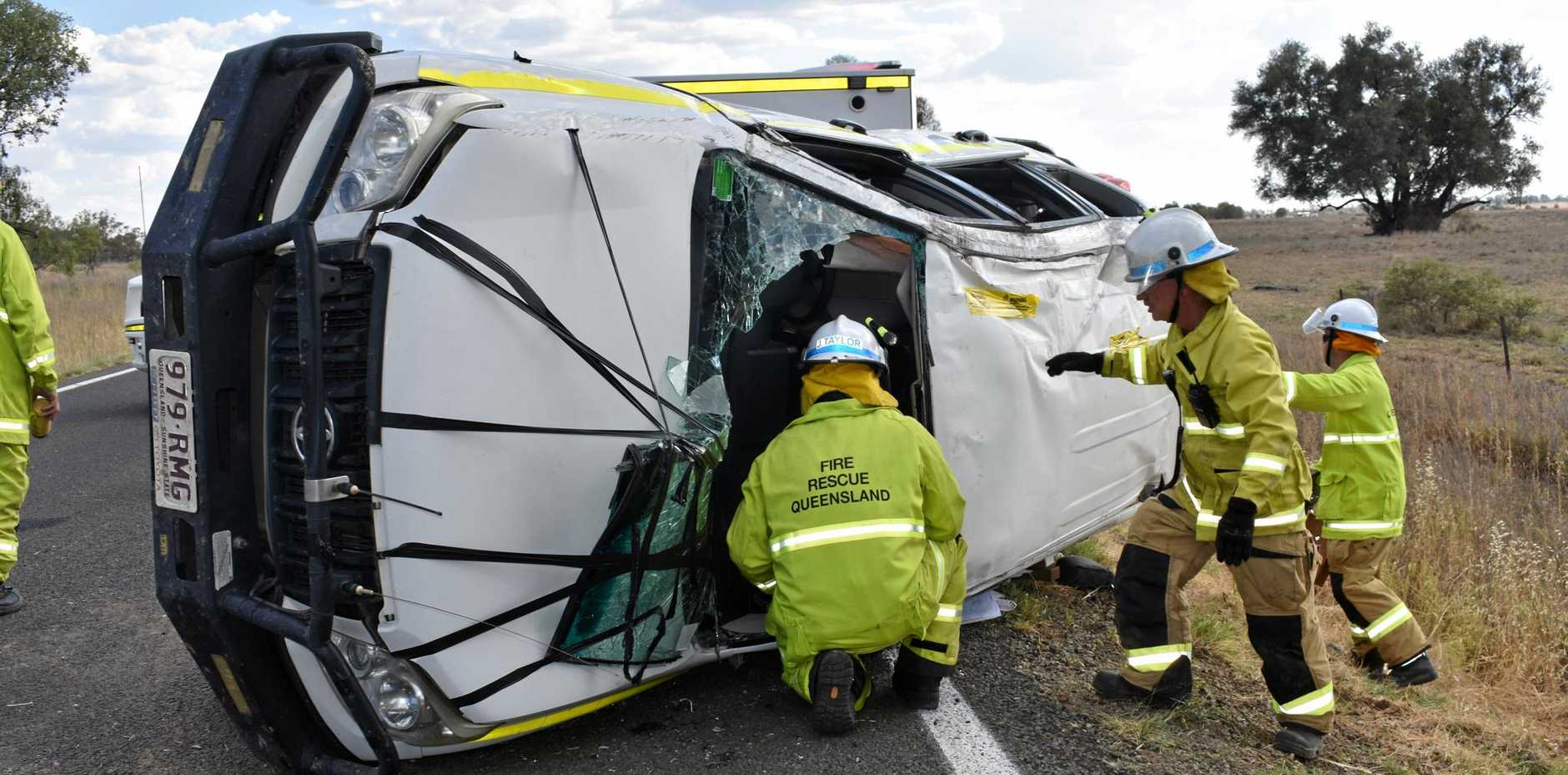Emergency services attended a single-vehicle crash just outside of Roma this afternoon.