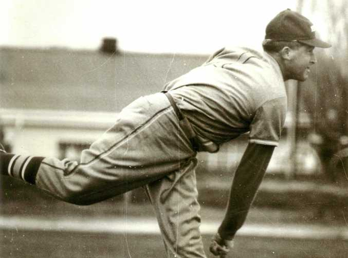ACTION MAN: Prominent pitcher Barry Pratt was selected in the Australian team in 1958.