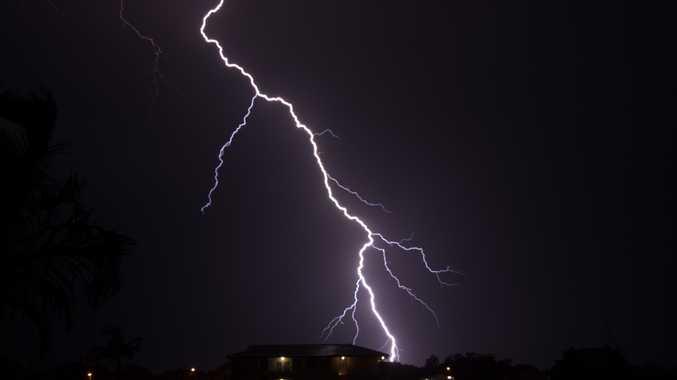 Coffs Coast Advocate reader Corinne Jouin captured a massive lightning bolt striking earth last night.