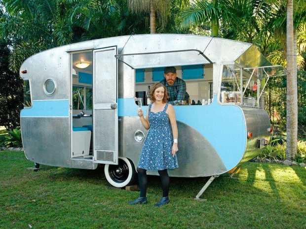 TINKER: Kim and Darren Jones with their rebuilt caravan 'Tinker'.