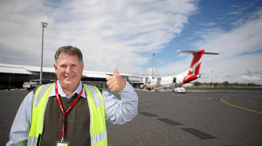 SKY IS THE LIMIT: Rockhampton Region Cr Neil Fisher at Rockhampton Airport.