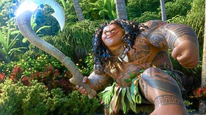 The character Maui (Dwayne Johnson) in a scene from the movie Moana.