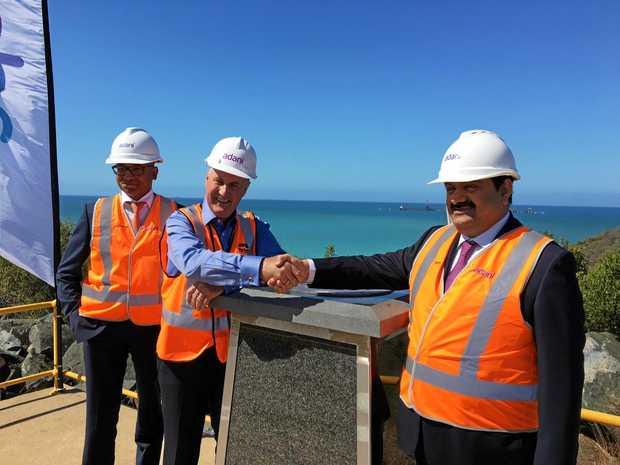 FORGING TIES: At Abbot Point yesterday afternoon (from left) Adani Australia CEO Jeyakumar Janakaraj, Mackay Mayor Greg Williamson and Adani Group chairman Gautum Adani.