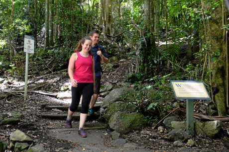Michelle Baker and Cam Huth just finishing the Mt Warning climb Photo: John Gass / Tweed Daily News