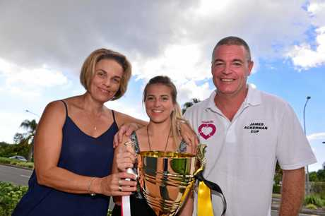 James Ackerman's family Sonya, Saraa and Michael Ackerman at the unveiling of the trophy in his name and honour.  Photo: John McCutcheon / Sunshine Coast Daily
