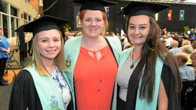 L-R Bachelor of Early Learning graduates Jessie George, Rachael Collins and Morgan Foster at the CQ University graduation Ceremony in Rockhampton.