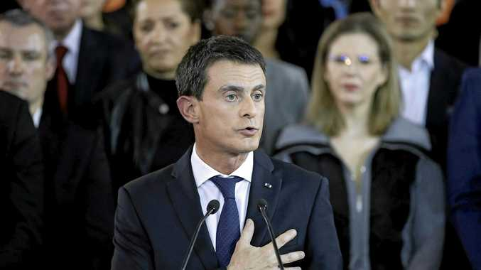 French Prime Minister Manuel Valls delivers a speech to announce his run for next year's presidential elections.