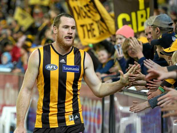 Jarryd Roughead of the Hawks celebrates with fans in 2014.