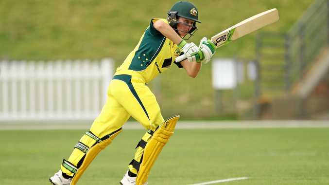 Beth Mooney of Australia bats during the women's one-day international match against South Africa in Coffs Harbour last month.