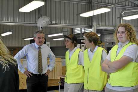 Kevin Hogan talks to Year 11 students at South Grafton High School at the opening of their Trades Skills Centre