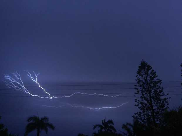 Lightning cracks over the Sunshine Coast about 4am on Tuesday.