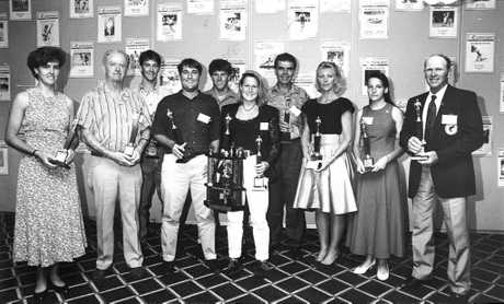 1992 sports star of the year top 10: from left, Joanne Powell, John Ryan (for son Tony), Greg Ford, Shaun Ulrick, Brent Livermore, Tanya Burrows (winner), Greg Thompson, Ros Donohoe (for Rees Duncan), Noel Everson (for Judy Cox).Photo Daily Examiner Archives