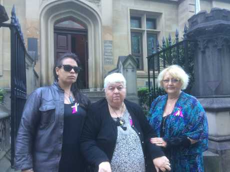 Outside Sydney Supreme Court on the trial's third day are (from left) Marie Darragh's granddaughter Shannon Parkinson and daughters Janet Parkinson and Charli Darragh.