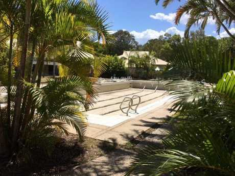 A lap pool near the spa at Palmer Coolum Resort lies empty. Taken on Sunday, December 4, two days before the Daily's tour of the facility.