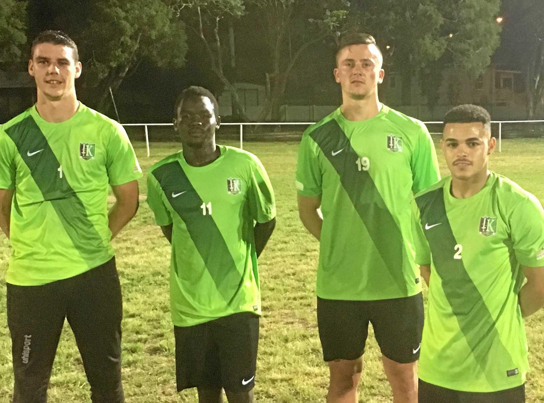 Ipswich Knights 2017 season signings Declan Murphy, Tarig Hammond, Adjen Salihovik and Jason Pillay.