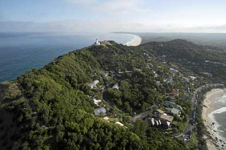 A stunning shot of Byron Bay lighthouse from the air. Photo www.craigparryphotography.com