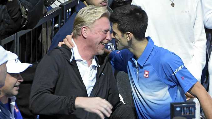 Novak Djokovic hugs his coach Boris Becker the ATP World Tour Finals in 2015.
