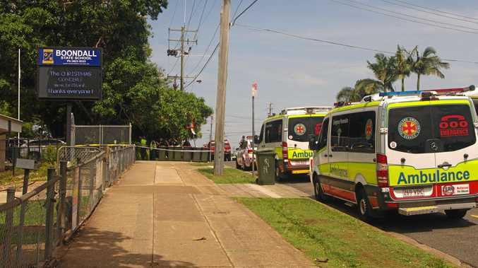 Emergency services investigate a suspicious package at Boondall State School.