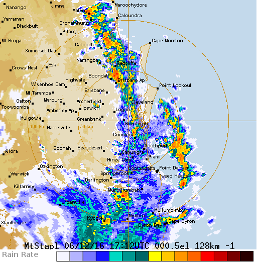 The BOM radar shows the storm line stretching along the coastline.