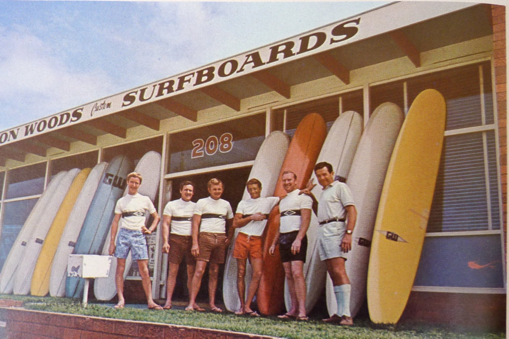 Gordon Woods (far right) in a 1966 ad for his surf shop. He is the subject of a documentary about the Brookvale Mafia airing on Foxtel.