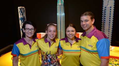 L-R Katrina, Hannah, Meaghan and Dennis Boyce from Toyworld at the Towers of Tomorrow Lego exhibition at the Rockhampton Art Gallery which they are sponsoring.