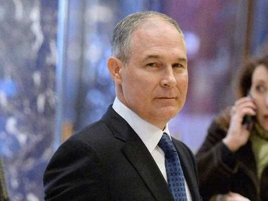 Scott Pruitt, Attorney General of Oklahoma, arrives in the lobby of the Trump Tower in New York, New York, USA, 28 November 2016.