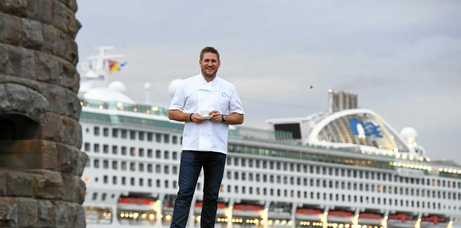ROYAL WELCOME: Curtis Stone welcomes the Sun Princess from Fort Denison.