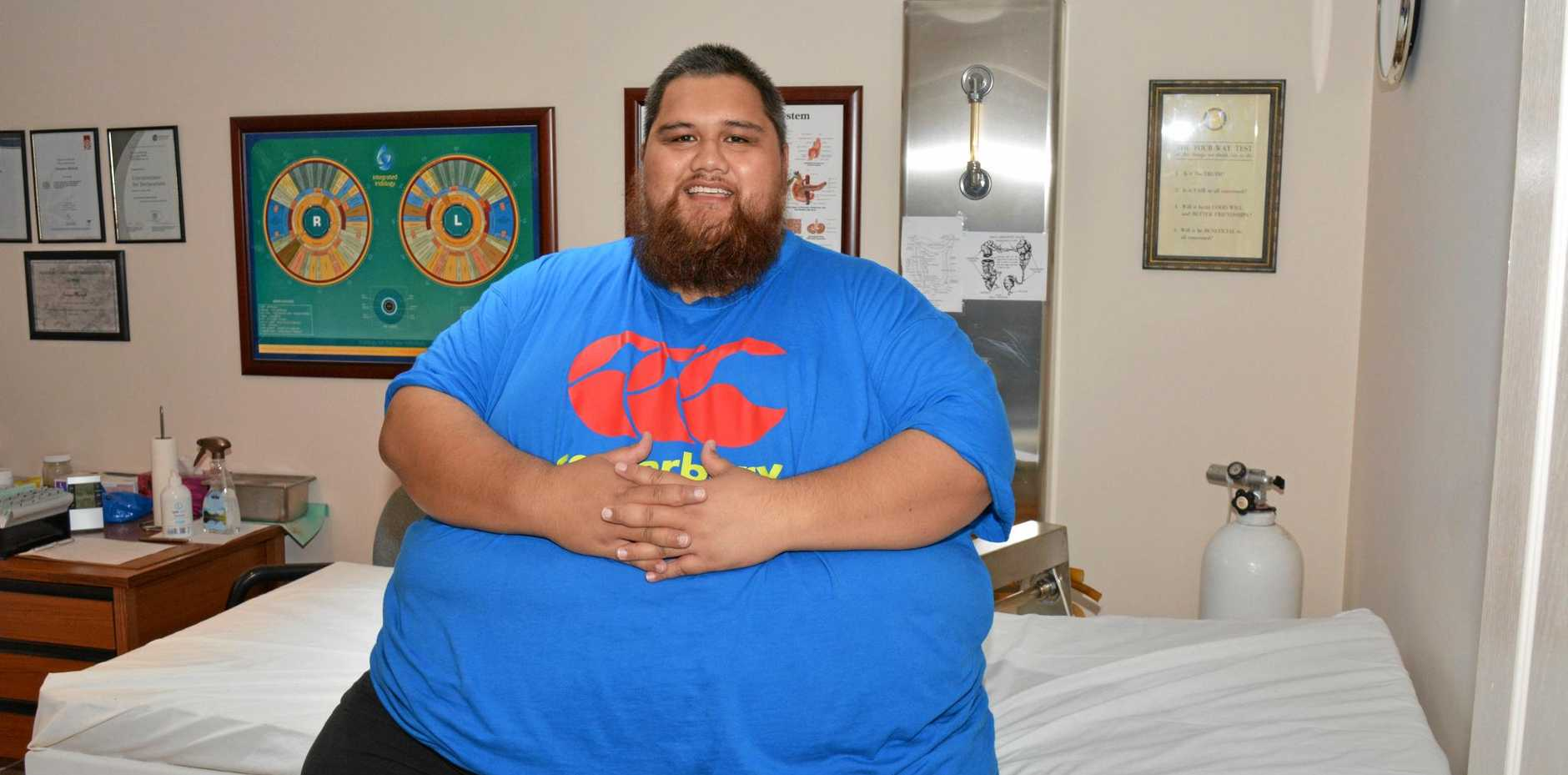 THE BIG CLEANSE: Gary Tofaenono sits on one of the only colonic hydrotherapy beds that would take his weight.