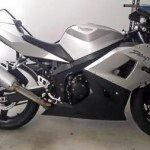 Silver 2004 Triumph Daytona Motorcycle rego plate 680KO stolen from Tanby October 11. Actual vehicle.