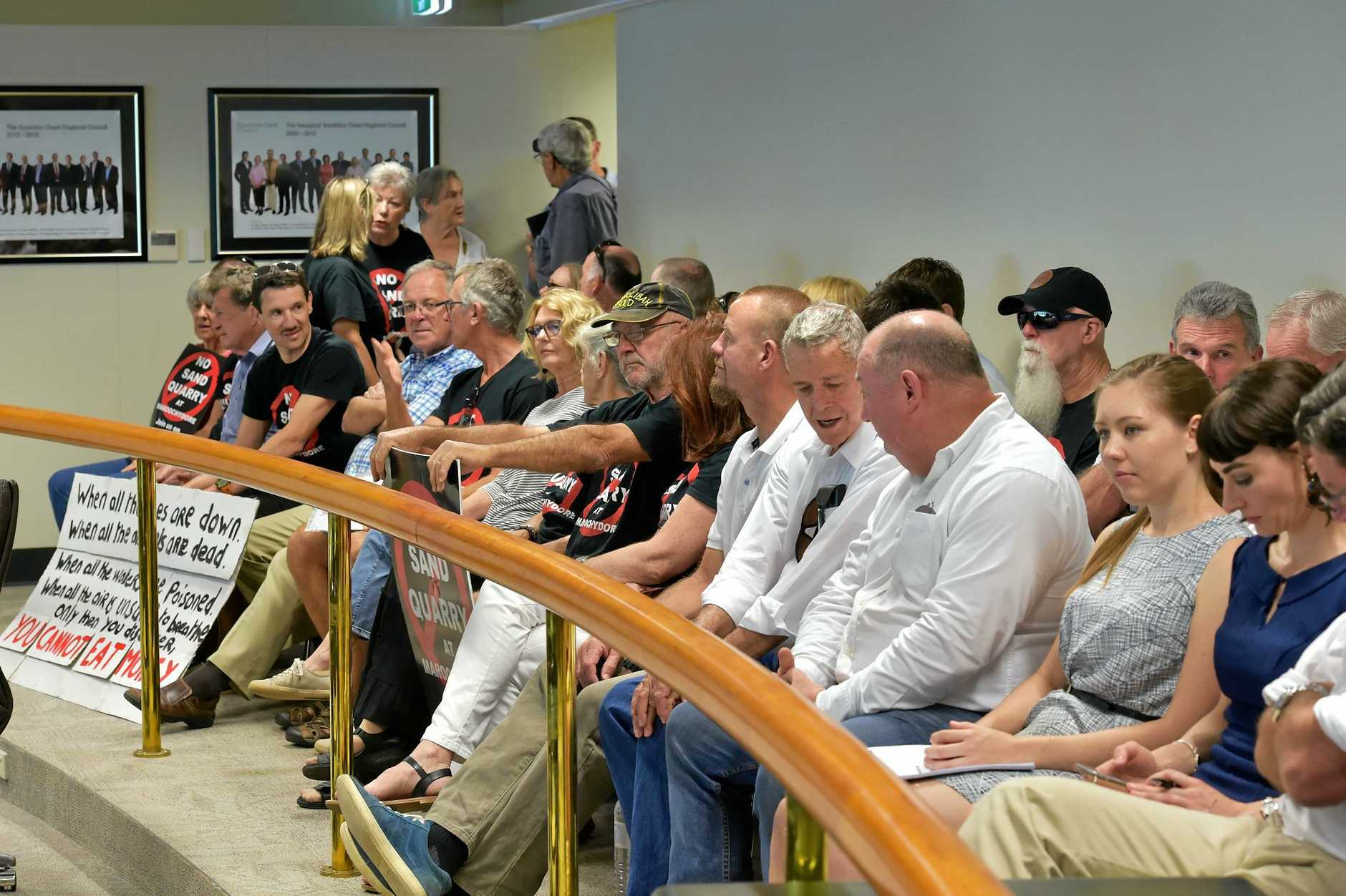 Sand mine opponents and developers attend the Nambour Council Chambers in October.