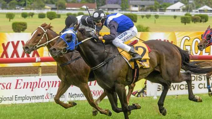 PACE TO BURN: Cash Spinner (left) hits the line hard at Grafton inside Our Blevic earlier this year during the CRJC Life Members Cup race day.