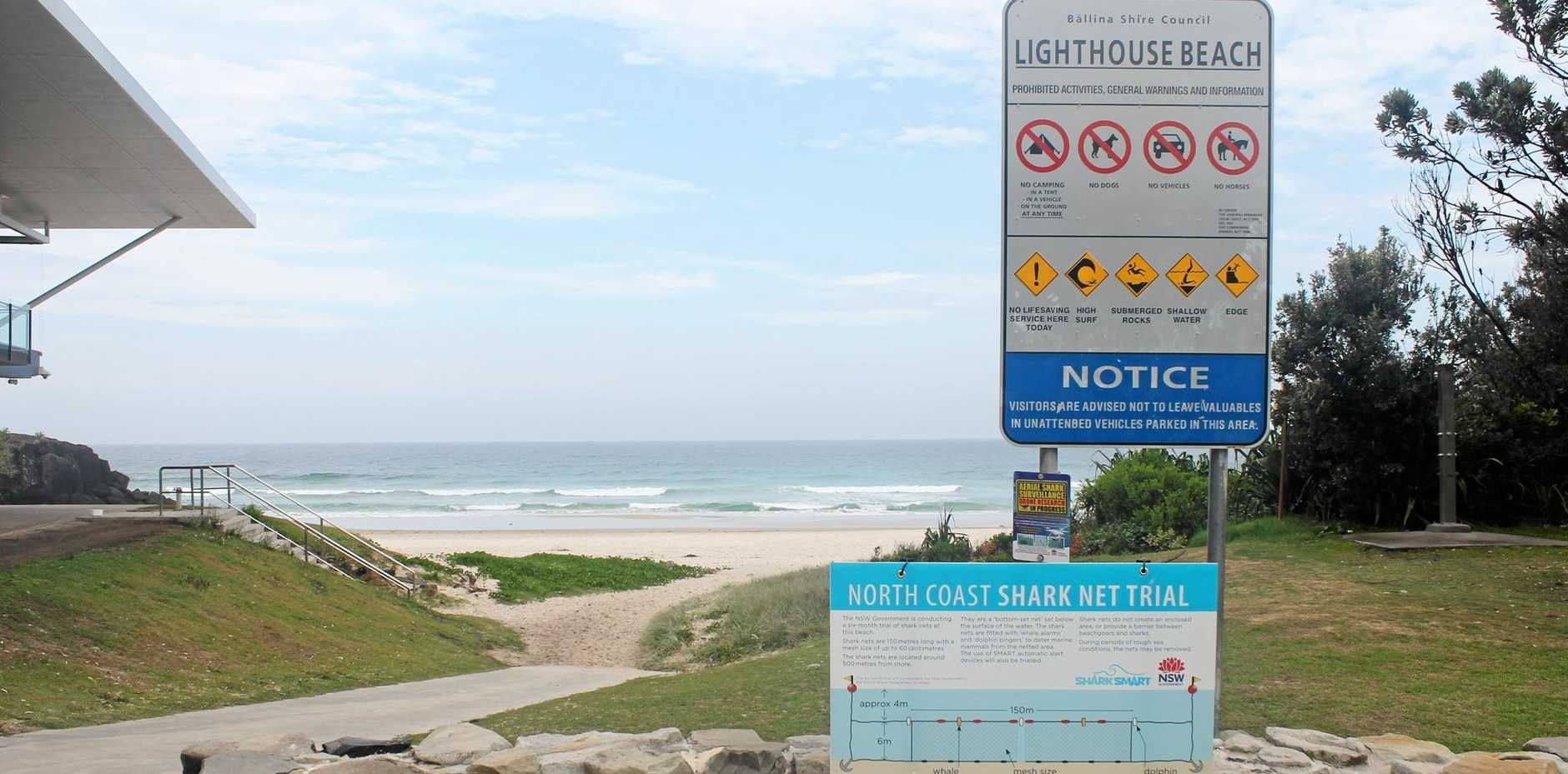 TRIAL HAS BEGUN: Shark mesh nets  last week were installed off four Ballina Shire beaches as the six-month trial of the nets begins.
