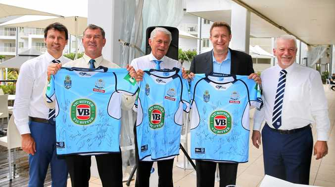 NSW Origin coach Laurie Daley, councillor Pryce Allsop, Tweed MP Geoff Provest, Mantra Group's Scott Robertson at Friday's launch at Mantra on Salt Beach, Kingscliff.
